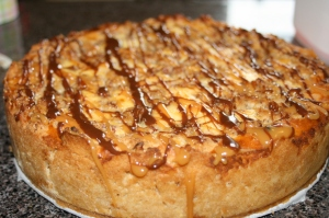 Caramel-Chocolate-Pecan Topped Cheesecake