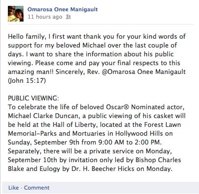 Michael Clarke Duncan Funeral Info